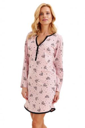 Noční košile Nika srdíčka druky růžová