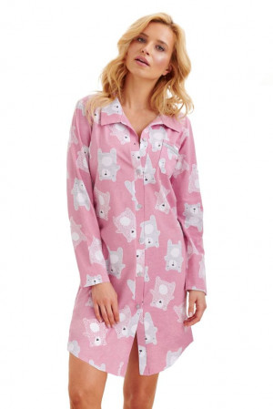 Dámská košilka Dalia starorůžová medvědi růžová