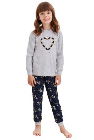 Dětské pyžamo Ada šedé s vánočními paličkami šedá