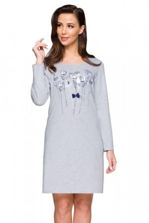 Bavlněná košilka Peggy šedá s květy šedá