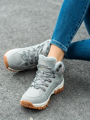Zajímavé  trekingové boty dámské šedo-stříbrné na plochém podpatku