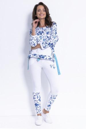 Dlouhé kalhoty F879 - Fobya bílo-modré květy