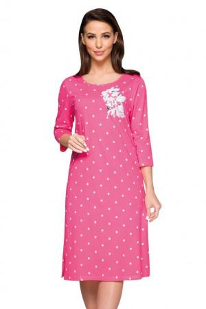 Dlouhá dámská košilka Sandra růžová květ růžová