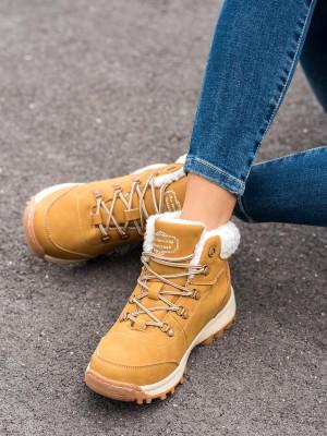 Exkluzívní  trekingové boty dámské hnědé na plochém podpatku
