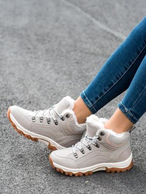 Moderní dámské hnědé  trekingové boty na plochém podpatku