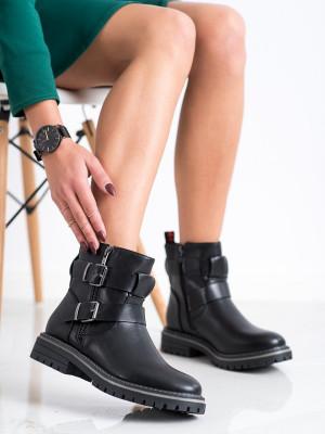 Exkluzívní  kotníčkové boty dámské černé na plochém podpatku