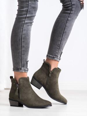 Trendy  kotníčkové boty zelené dámské na širokém podpatku