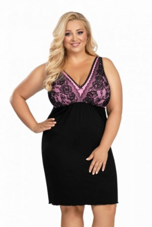 Donna Patrizia černá Noční košilka Size Plus 5XL černá