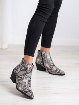 Komfortní se zvířecím motivem  kotníčkové boty dámské na širokém podpatku
