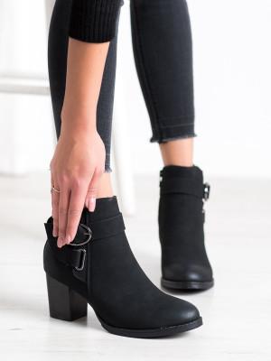 Exkluzívní černé  kotníčkové boty dámské na širokém podpatku