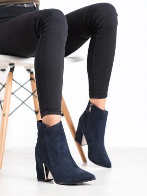 Designové  kotníčkové boty modré dámské na širokém podpatku