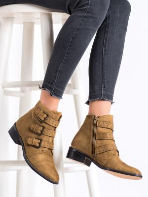 Luxusní  kotníčkové boty dámské hnědé na plochém podpatku
