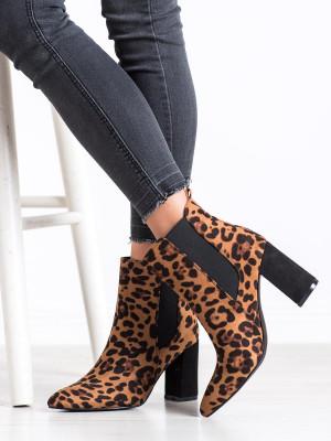 Klasické se zvířecím motivem  kotníčkové boty dámské na širokém podpatku
