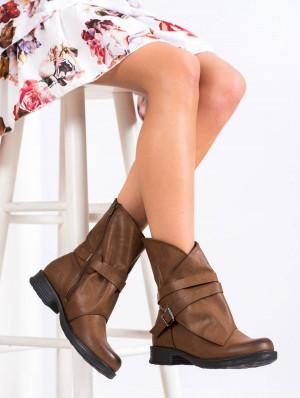 Luxusní dámské hnědé  kotníčkové boty na plochém podpatku