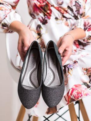 Módní dámské šedo-stříbrné  baleríny bez podpatku