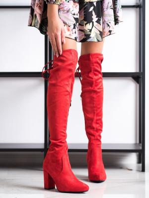 Exkluzívní  kozačky červené dámské na širokém podpatku