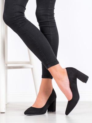 Trendy  lodičky dámské černé na širokém podpatku