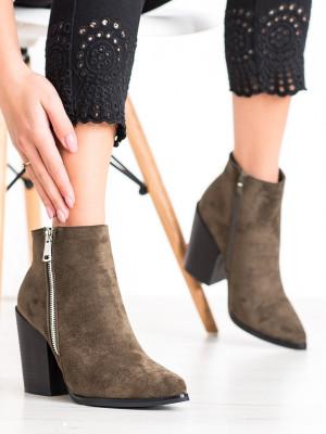Trendy zelené  kotníčkové boty dámské na širokém podpatku