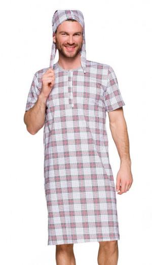 Pánská noční košile Filip IX šedá, káro šedá