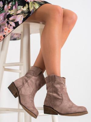 Moderní dámské hnědé  kotníčkové boty na širokém podpatku