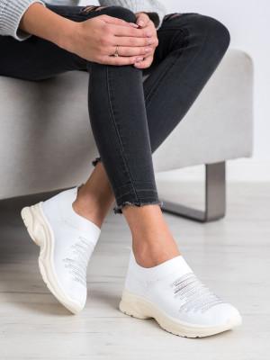Trendy bílé dámské  tenisky bez podpatku