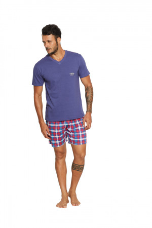 Pánské pyžamo RENO 37846 fialová-károvaná