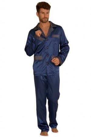 Saténové pánské pyžamo Adam tmavě modré modrá