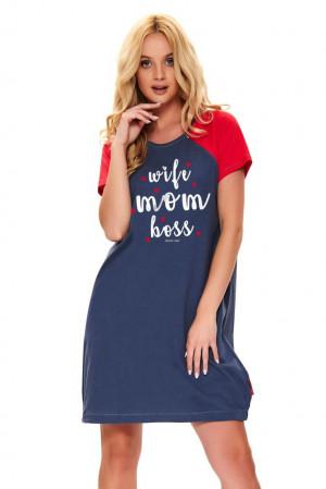Mateřská noční košile Love mom tmavě modrá modrá