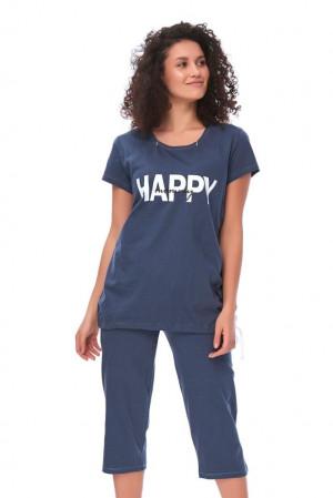 Mateřské pyžamo Happy mommy tmavě modré modrá