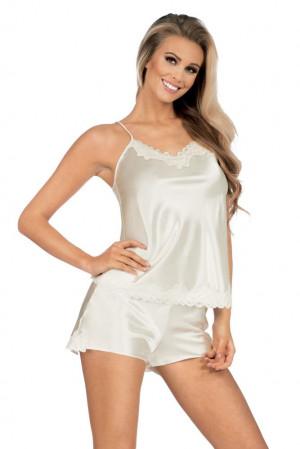 Dámské saténové pyžamo Loris v barvě ecru bílá
