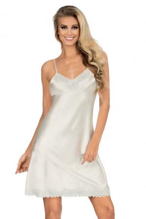 Dámská saténová košilka Loris v barvě ecru bílá