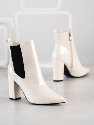 Trendy  kotníčkové boty dámské hnědé na širokém podpatku