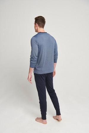 Pánské pyžamo 500014-499 1/1 Knit tmavěmodrá - Jockey tm.modrá s proužky