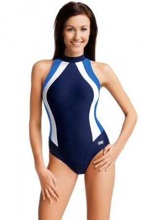 Jednodílné plavky gWINNER Olivia tm.modrá-modrá