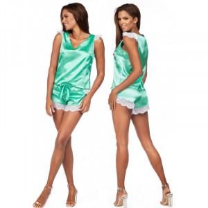 Dámské saténové pyžamo K-913 - Excellent Beauty mátová