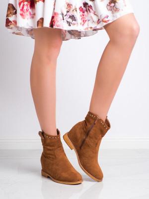 Pěkné  kotníčkové boty dámské hnědé na klínku