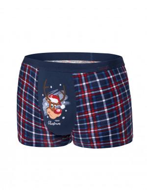 Pánské boxerky Cornette 007/57 Reindeer Merry Christmas tmavě modrá