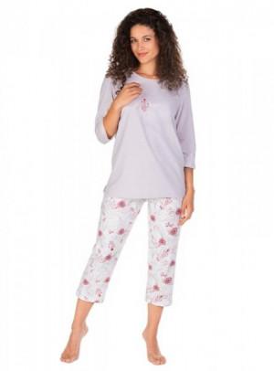 Lama L-1387 PY Dámské pyžamo S mocca-ecru