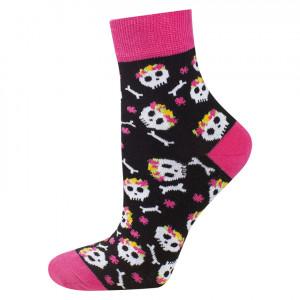 Dámské ponožky SOXO GOOD STUFF - Lebka ve větru černá/růžová 35-40