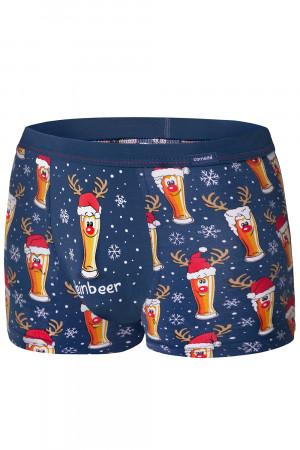 Pánské boxerky Cornette Merry Christmas Beer 007/53 tmavomodrá s