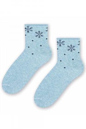 Dámské vánoční ponožky Steven 099-661 m.błękit 35-37