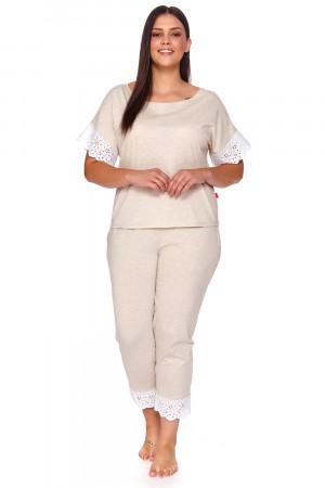 Dámské pyžamo Dn-nightwear PM.4104 béžová žíhaná s
