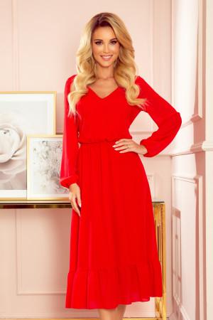 Červené dámské šifonové midi šaty s volánkem a dekoltem 304-3