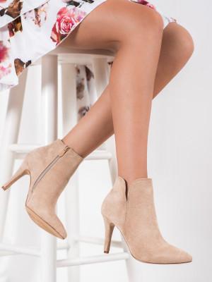 Jedinečné  kotníčkové boty dámské hnědé na jehlovém podpatku