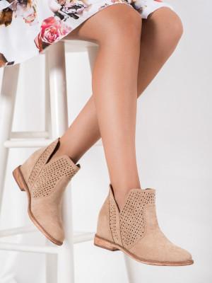 Originální dámské  kotníčkové boty hnědé na klínku