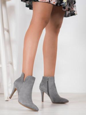 Moderní dámské šedo-stříbrné  kotníčkové boty na jehlovém podpatku