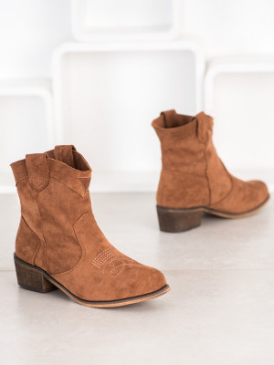 Trendy hnědé  kotníčkové boty dámské na širokém podpatku