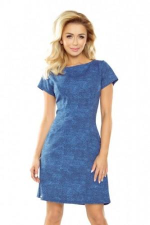 Světle modré džínové dámské trapézové šaty s kapsami 155-1