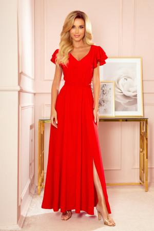 LIDIA - Dlouhé červené dámské šaty s volánky a dekoltem 310-2