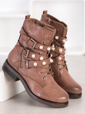 Stylové dámské hnědé  kotníčkové boty na plochém podpatku